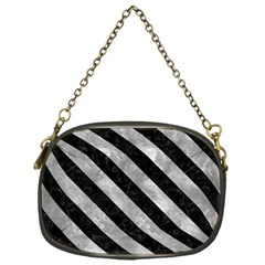 Stripes3 Black Marble & Gray Metal 2 (r) Chain Purses (one Side)