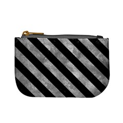 Stripes3 Black Marble & Gray Metal 2 (r) Mini Coin Purses