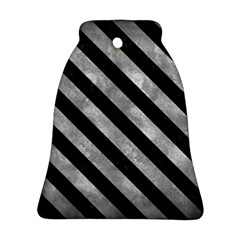 Stripes3 Black Marble & Gray Metal 2 (r) Ornament (bell)