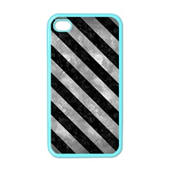 Stripes3 Black Marble & Gray Metal 2 (r) Apple Iphone 4 Case (color)