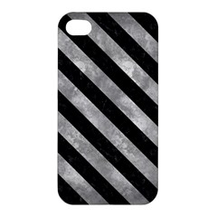 Stripes3 Black Marble & Gray Metal 2 (r) Apple Iphone 4/4s Premium Hardshell Case