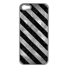 Stripes3 Black Marble & Gray Metal 2 (r) Apple Iphone 5 Case (silver)