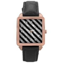 Stripes3 Black Marble & Gray Metal 2 (r) Rose Gold Leather Watch