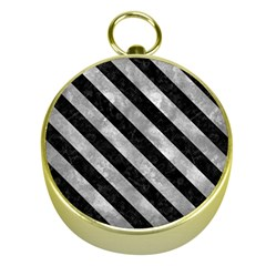 Stripes3 Black Marble & Gray Metal 2 (r) Gold Compasses