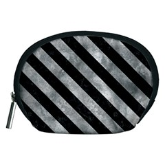 Stripes3 Black Marble & Gray Metal 2 (r) Accessory Pouches (medium)