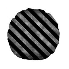 Stripes3 Black Marble & Gray Metal 2 (r) Standard 15  Premium Flano Round Cushions