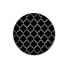 Tile1 Black Marble & Gray Metal 2 Rubber Coaster (round)