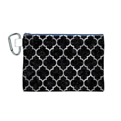 Tile1 Black Marble & Gray Metal 2 Canvas Cosmetic Bag (m)