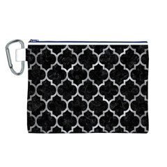 Tile1 Black Marble & Gray Metal 2 Canvas Cosmetic Bag (l)