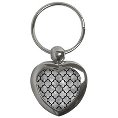 Tile1 Black Marble & Gray Metal 2 (r) Key Chains (heart)