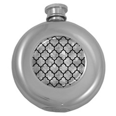 Tile1 Black Marble & Gray Metal 2 (r) Round Hip Flask (5 Oz)