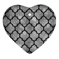 Tile1 Black Marble & Gray Metal 2 (r) Heart Ornament (two Sides)