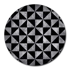 Triangle1 Black Marble & Gray Metal 2 Round Mousepads