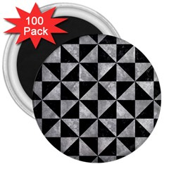 Triangle1 Black Marble & Gray Metal 2 3  Magnets (100 Pack)