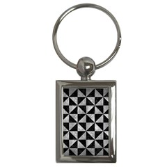 Triangle1 Black Marble & Gray Metal 2 Key Chains (rectangle)