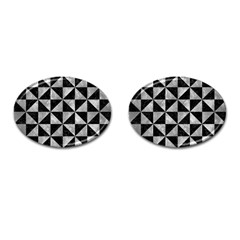Triangle1 Black Marble & Gray Metal 2 Cufflinks (oval)