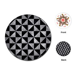 Triangle1 Black Marble & Gray Metal 2 Playing Cards (round)