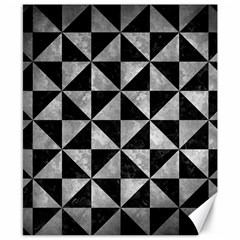 Triangle1 Black Marble & Gray Metal 2 Canvas 8  X 10