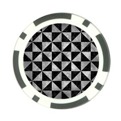 Triangle1 Black Marble & Gray Metal 2 Poker Chip Card Guard (10 Pack)