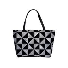 Triangle1 Black Marble & Gray Metal 2 Shoulder Handbags