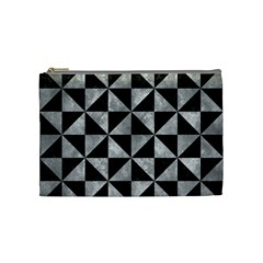 Triangle1 Black Marble & Gray Metal 2 Cosmetic Bag (medium)