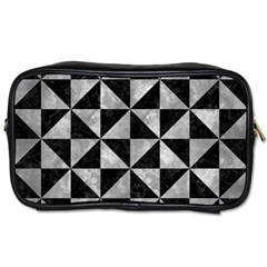 Triangle1 Black Marble & Gray Metal 2 Toiletries Bags 2 Side