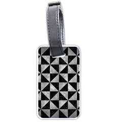 Triangle1 Black Marble & Gray Metal 2 Luggage Tags (two Sides)