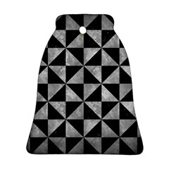 Triangle1 Black Marble & Gray Metal 2 Bell Ornament (two Sides)