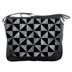 Triangle1 Black Marble & Gray Metal 2 Messenger Bags