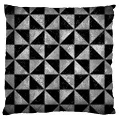 Triangle1 Black Marble & Gray Metal 2 Large Cushion Case (two Sides)