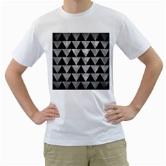 Triangle2 Black Marble & Gray Metal 2 Men s T Shirt (white) (two Sided)