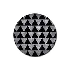 Triangle2 Black Marble & Gray Metal 2 Rubber Coaster (round)
