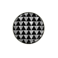 Triangle2 Black Marble & Gray Metal 2 Hat Clip Ball Marker (4 Pack)