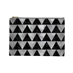 Triangle2 Black Marble & Gray Metal 2 Cosmetic Bag (large)