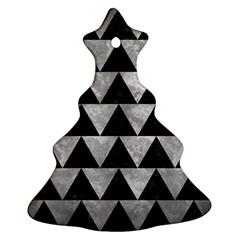 Triangle2 Black Marble & Gray Metal 2 Ornament (christmas Tree)