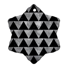 Triangle2 Black Marble & Gray Metal 2 Snowflake Ornament (two Sides)