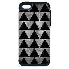 Triangle2 Black Marble & Gray Metal 2 Apple Iphone 5 Hardshell Case (pc+silicone)