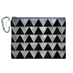 Triangle2 Black Marble & Gray Metal 2 Canvas Cosmetic Bag (xl)