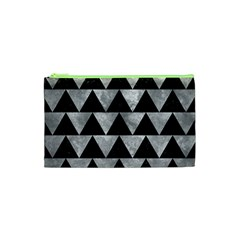 Triangle2 Black Marble & Gray Metal 2 Cosmetic Bag (xs)