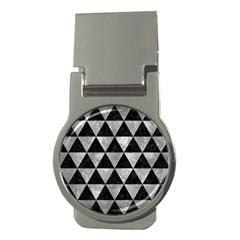 Triangle3 Black Marble & Gray Metal 2 Money Clips (round)