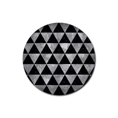 Triangle3 Black Marble & Gray Metal 2 Rubber Coaster (round)