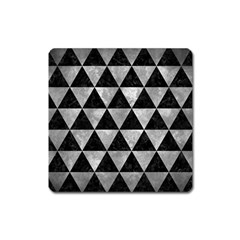 Triangle3 Black Marble & Gray Metal 2 Square Magnet