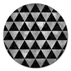 Triangle3 Black Marble & Gray Metal 2 Magnet 5  (round)