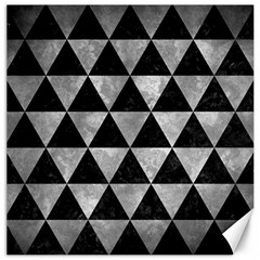 Triangle3 Black Marble & Gray Metal 2 Canvas 12  X 12