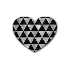 Triangle3 Black Marble & Gray Metal 2 Heart Coaster (4 Pack)