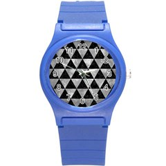 Triangle3 Black Marble & Gray Metal 2 Round Plastic Sport Watch (s)