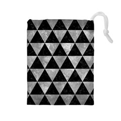 Triangle3 Black Marble & Gray Metal 2 Drawstring Pouches (large)