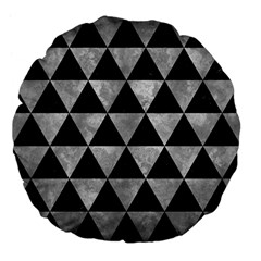 Triangle3 Black Marble & Gray Metal 2 Large 18  Premium Flano Round Cushions