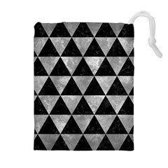 Triangle3 Black Marble & Gray Metal 2 Drawstring Pouches (extra Large)