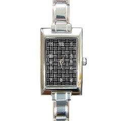 Woven1 Black Marble & Gray Metal 2 Rectangle Italian Charm Watch